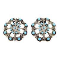 Ornate Silver Older Southwest Cluster Turquoise Earrings