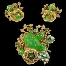 Older Miriam Haskell Vaseline Glass Brooch Earrings Set