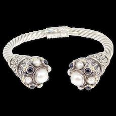 14k And 925 Midas Byzantine Onyx And Pearls Bracelet