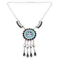Vintage Zuni Inlay Sunface Turquoise Necklace J.d. Massie