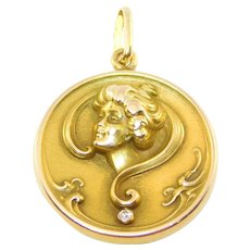 14k Repousse Art Nouveau Lady Locket With Diamond Pristine