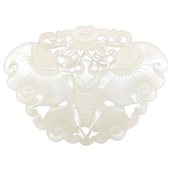 Antique White Jade Mutton Fat Deep Carved Butterfly Pendant