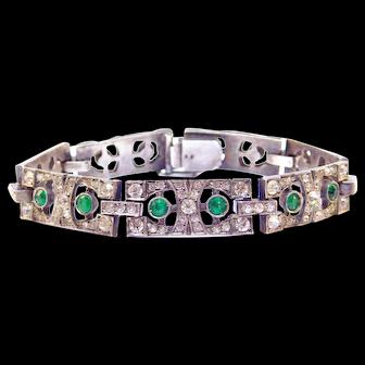 Art Deco French Hallmarked Silver Paste Bracelet