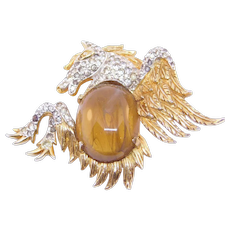 Vintage Gold Tone Jomaz Pegasus Brooch Jelly Belly