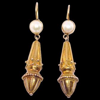 Etruscan Victorian Revival Drop Earrings Leverback Vermeil