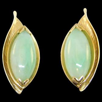 Ming's 14k Estate Fine Jade Leaf Earrings Beautiful