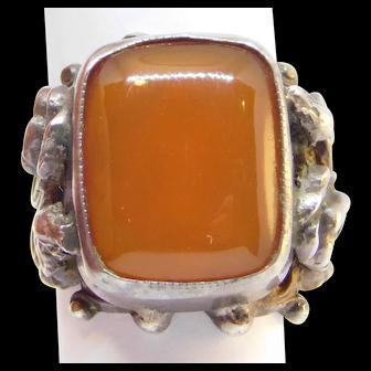 Antique Italian Silver Ornate Carnelian Ring