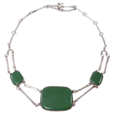 Modernist Silver Natural Jade Necklace Beautifully Crafted
