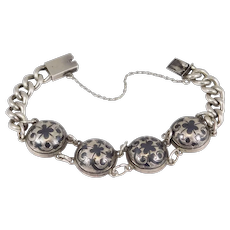 Antique Silver Russian Hallmarked Niello Curb Bracelet