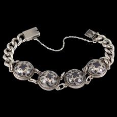 Antique Silver Russian Hallmarked Niello Curb Bracelet