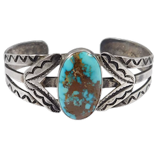 Fred Harvey Era Silver Hand Stamped Turquoise Cuff Bracelet