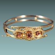 Antique Gold Plated Garnets Bracelet Napoleon III Jewelry