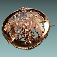 Antique Rose Gold Plated Grape Brooch Napoleon III Jewelry