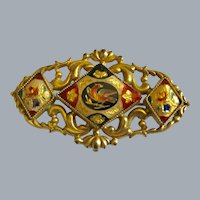 Antique Pinchbeck And Enamel Brooch Free Shipping