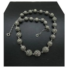 Vintage Silver Filigree Beaded Necklace