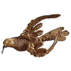 Antique Decorative Straw Bird French Folk Art