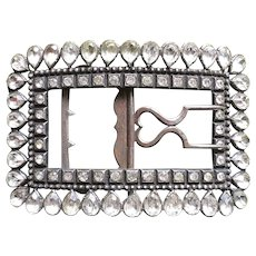 Large Antique Crystal Belt Buckle On Silverplate Circa End Of The 18th Century