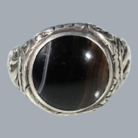 Antique Agate Cabochon Silver Floral Ring  Size 8.50 US Free Shipping