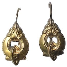 Antique Gold Plated Earrings Victorian French Jewelry