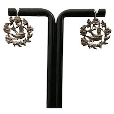 Antique Silver Plate Bird Earrings Victorian French Jewelry