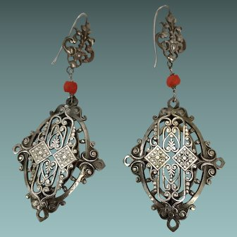 Victorian Silver Plate Pendant Earrings
