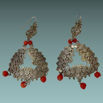 Antique Coral Dangle Earrings