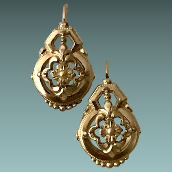 Antique Gold Plated Floral Earrings Stamped