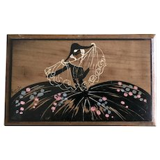 Art Deco Hand Painted Jewelry Box Free Shipping