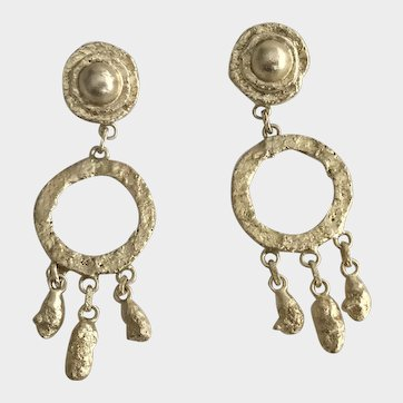 Henry Perichon Dangle Gilt Bronze Earrings Free Shipping
