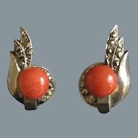 Art Deco Silver Clip On Coral Earrings Free Shipping