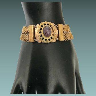 Antique Pinchbeck Bracelet Amethyst Scarab Cabochon