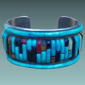 Native American Silver Cuff Bracelet Stamped