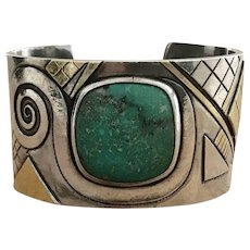 Art Deco Modernist Silver And Turquoise Cuff