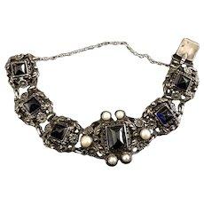 Antique Silver Floral Bracelet Stamped