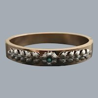 Victorian Silver Floral Band Bracelet On Gold Tone Free Shipping