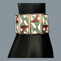 Art Deco Modernist Enamel Bracelet Free Shipping