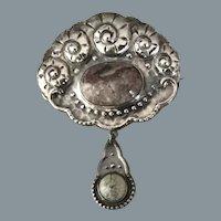Art Deco Silver Dangle Jasper Brooch Free Shipping