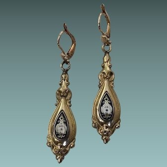Victorian French Enamel On Gold Plated Pendant Earrings