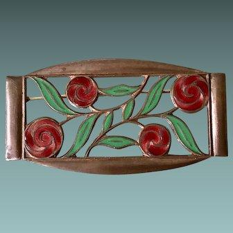 Art Deco Enamel Floral Brooch