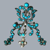 Antique Turquoise And Natural Pearls Brooch On Silver