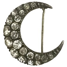 Victorian Silver Crescent Moon