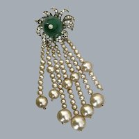 Art Deco Silver Haute Couture Floral Brooch Free Shipping