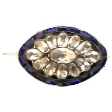 Georgian Crystal Silver Brooch And 14k Gold Pin