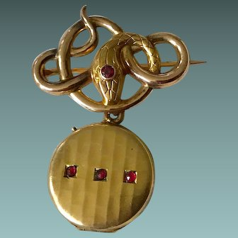 Art Nouveau Rolled Gold Brooch/Pendant Locket