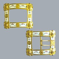 Two Collectible Victorian Enamel Buckles Free Shipping