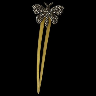 Art Nouveau Butterfly Decorative Comb Horn And Cut Steel