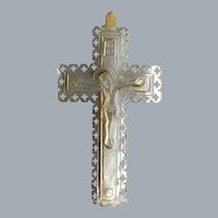 Antique Mother Of Pearl Pendant Cross Free Shipping