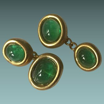 Gold Plated Cuff Links Pate de Verre Cabochon