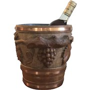 Gorgeous Hand Sculpted Wooden Ice Bucket Ooak Signed French Folk Art Circa 1920/1930