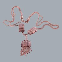 Antique Silver Double Face Pendant Tassel Necklace Free Shipping